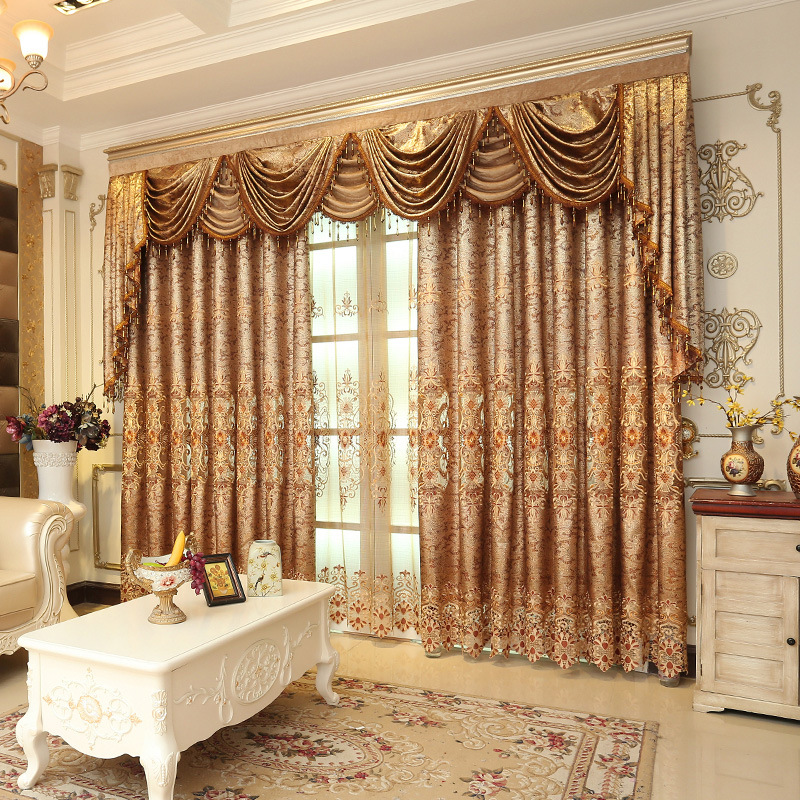 European  Luxury Curtains Water Soluble Embroidery Valance Curtains For Living Room Bedroom Curtains Tulle Fabric