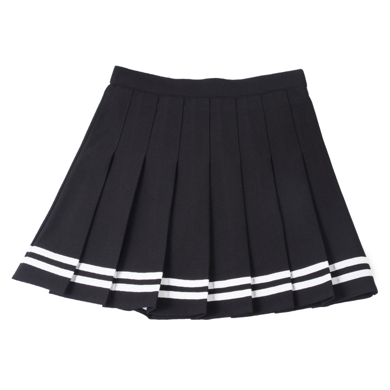S-XXL Four Colors High Waist A-Line Women Skirt Striped Stitching Sailor Pleated Skirt Elastic Waist Sweet Girls Dance Skirt