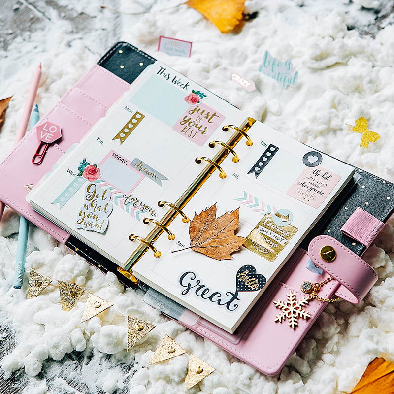 Pre sell 2017 New Arrive Dokibook Winter Series Fireworks A5 A6 A7 Pink Snap Notebook Diary Travel Planner