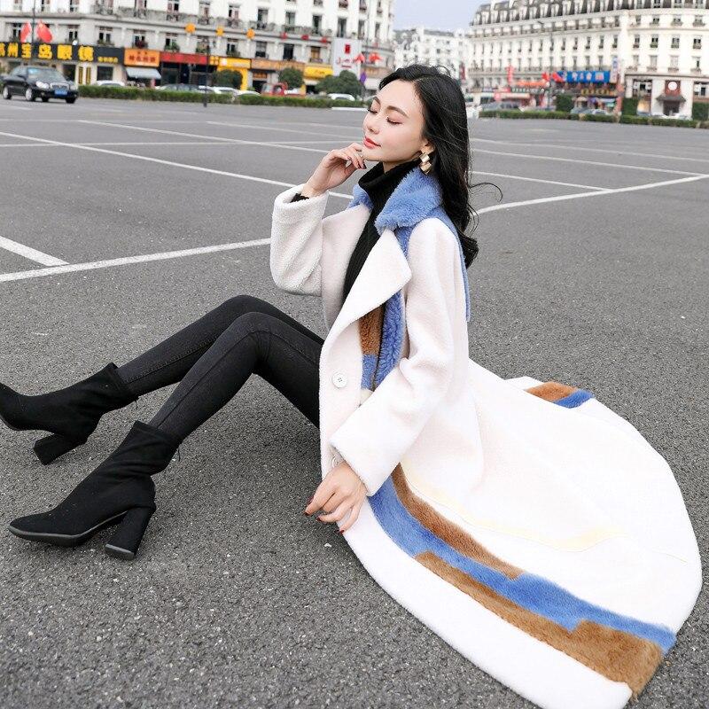 Femelle Faux Rallongent Manteau Plus Coréenne La Agneaux Hiver Photo Laine Ioqrcjv Taille Splice Automne Fourrure Color De H716 Mode 2019 WwwxngfR1q