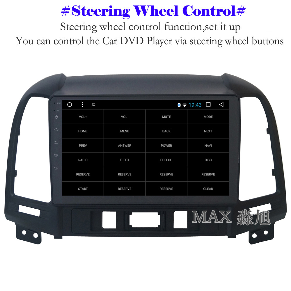 Sale MAX Android 8.1 2G 32G 8 Core Car DVD Player for Hyundai santa fe 3/4holes with 2.5D+IPS Screen car stereo radio RDS Maps swc 4