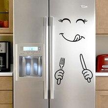Милая наклейка на холодильник счастливое вкусное лицо кухонная стенка холодильника холодильник виниловая наклейка s художественная Наклейка на стену домашний декор Прямая поставка