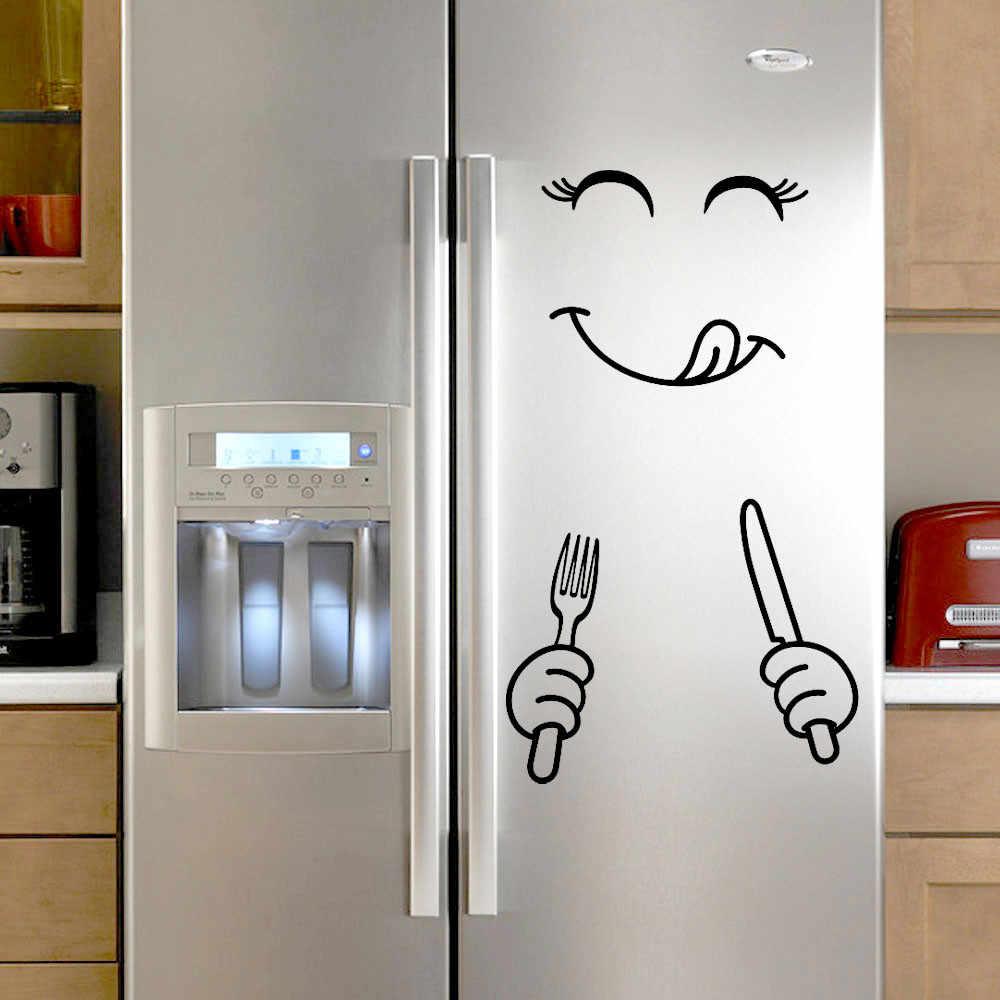 Клевый стикер Холодильник Happy Delicious Face Кухня Холодильник настенный холодильник виниловые наклейки Искусство Наклейка на стену домашний декор дропшиппинг