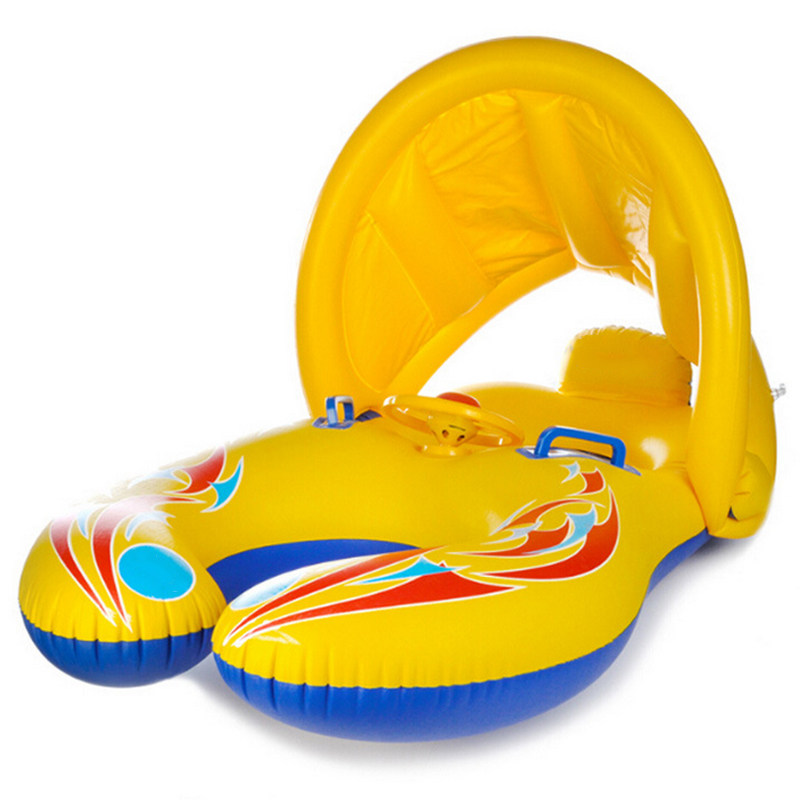 PVC inflatable Baby swimming ring Float Seat Mother and child double swim ring mother and child swimming circle Sunshade