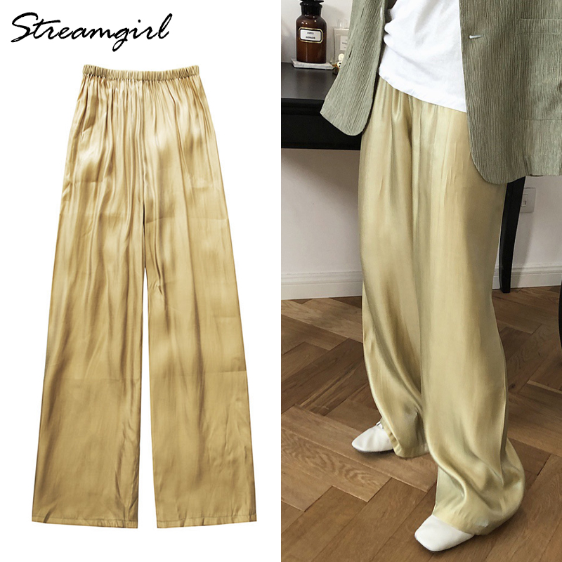 Satin Loose   Wide     Leg     Pants   Women Summer Elastic Waist Casual   Pant   Female Pantalon Femme Large Summer Women's Satin   Pants   Women