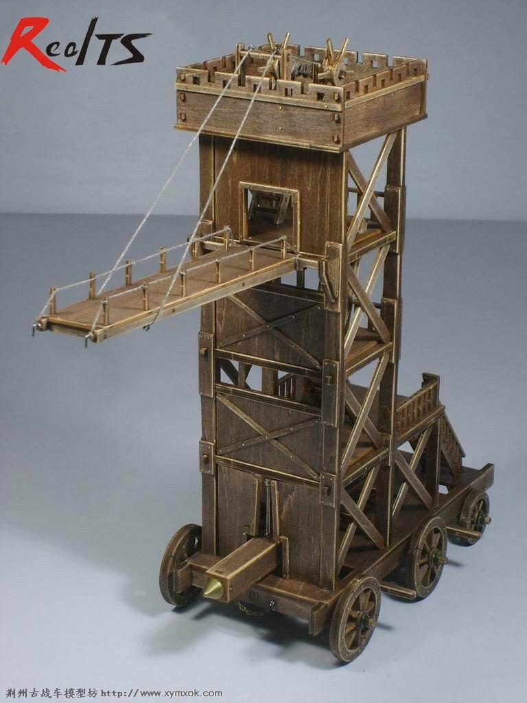 RealTS classique en bois ancien chariots assemblé de matériel: haute 320mm bélier modèle ram siège moteurs en bois jouets