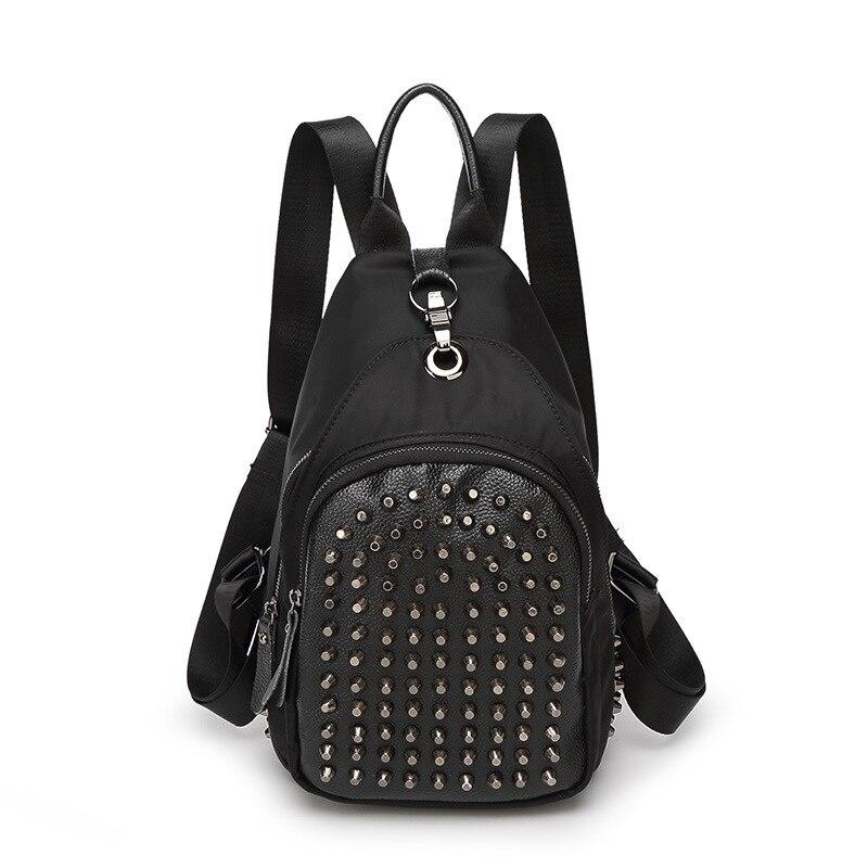 ФОТО Bailar Women rock rivet Backpacks waterproof for teenage girls Oxford cow Leather Mochila Escolar punk Travel Bags Fashion F632