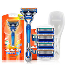 Men's Straight Razor Gillette Fusion Barber Hair Cut Face Beard Manual Shave Shaver 5 Layers Shaving Replacement Blades Heads(China)