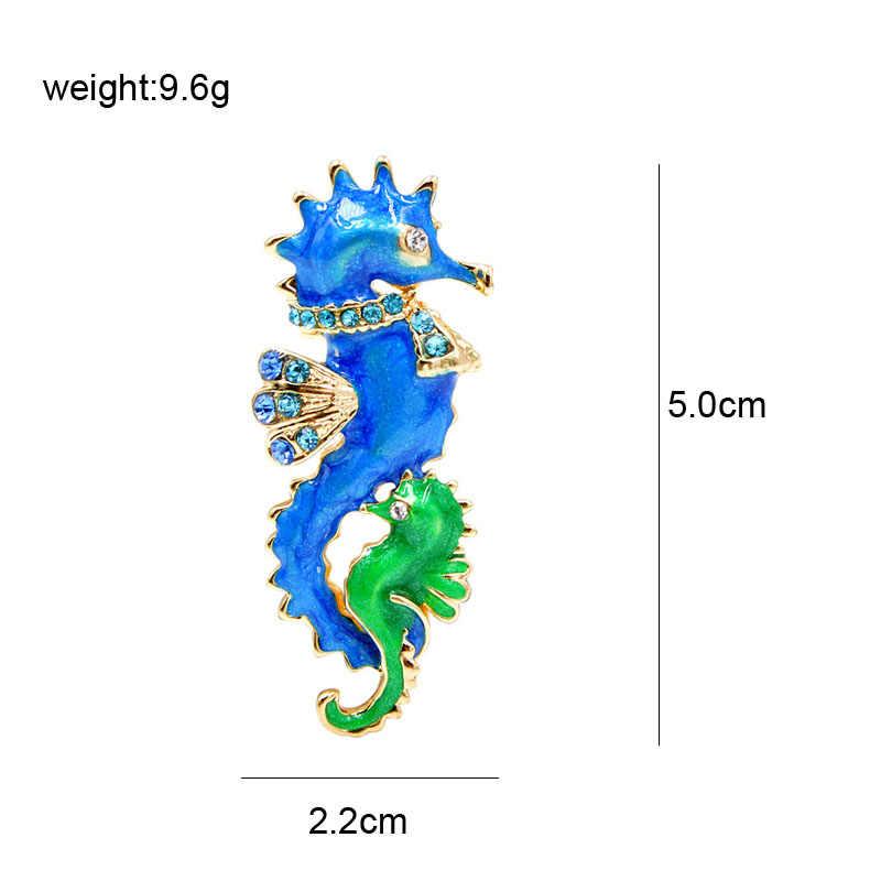Cindy Xiang Baru Biru dan Hijau Warna Kuda Laut Bros untuk Wanita Lucu Enamel Hewan Laut Bros Pin Fashion Perhiasan hadiah