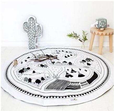 Kids Play Mat Cotton Round Carpet Rugs Mat For Gym Cotton Bear Crawling Blanket Floor Carpet For Kids Room Decor Babyshower Gift