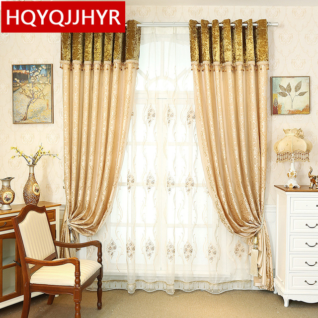 European Luxury Jacquard Blackout Curtain For Living Room Windows Blue/Pink/ Yellow/ Brown