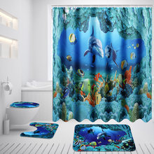 Lovely Xueqin Ocean Dolphin Deep Sea Shower Curtain Waterproof Curtains + Pedestal  Rug Lid Toilet Cover Bath Mat Set For Bathroom