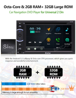 Android 7.1 Car Stereo Double Din with DVD Player, GPS Navigation, WIFI, Android Auto, 6.2 Inch Touch Screen, Support Bluetooth