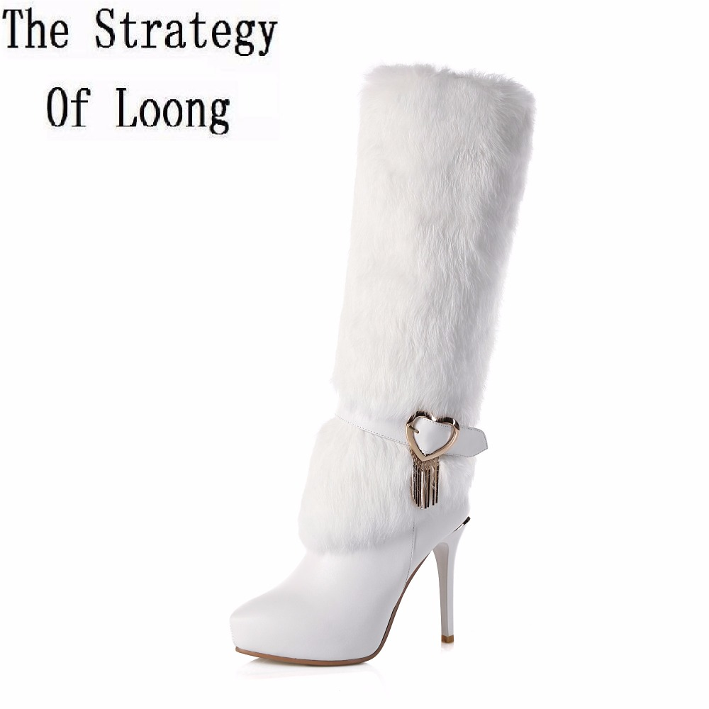 Winter Short Plush Genuine Leather Buckle Strap Thin Heels Boots Leather With Fur Pointed Toe Zip Women Knee High Boots ZY170831 pu pointed toe flats with eyelet strap