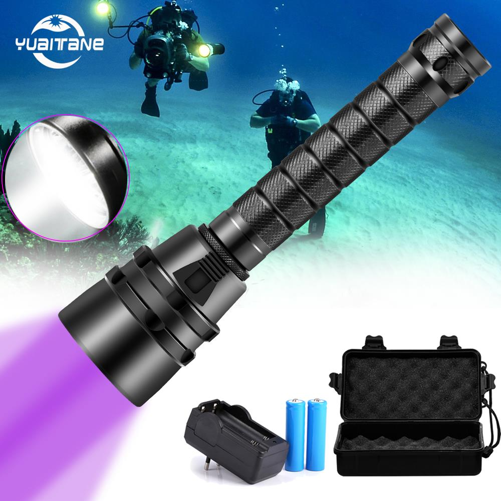 30000LM Scuba LED Diving Flashlight 5L2 5UV Flash Light Lantern  UV Torch 220M Underwater Purple White Light Ultraviolet Lantern