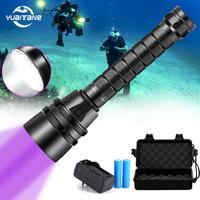 6000lm mergulho led lanterna 5l2 5uv flash luz lanterna tocha uv 220 m subaquática roxo branco luz ultravioleta|Lanternas| |  -