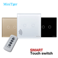 EU Standard Switch 2 Gang Remote Control Light Switch Crystal Tempered Glass Panel Touch Switch AC170