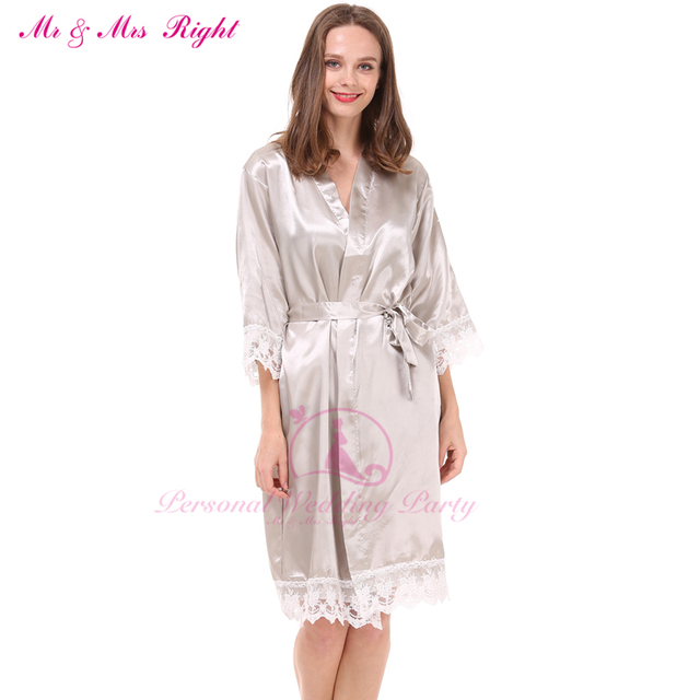 5e40c73976fc Mr & Mrs Right Fashion Satin Lace Wedding Robe Famous Bride Bridesmaid Gown  Solid Family Pajamas Set Nightgown Bathrobe Kimono