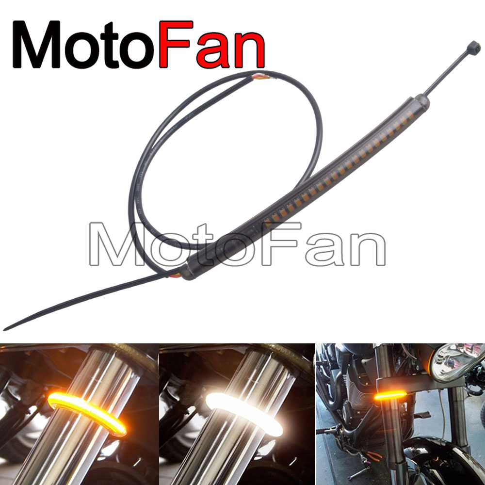 Custom Motorcycle Fork LED Strip Turn Signal Light Bars 39mm-56mm for Harley Davidson Dyna Street Bob Wide Glide Victory Honda