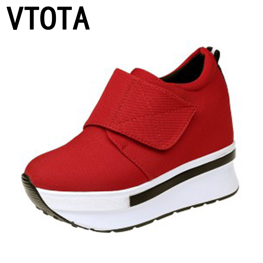 VTOTA Women Sneakers Heel Shoes Woman 2017 Casual Platform Shoes Fashion Loafers Heigh Increasing Zapatos Mujer Canvas Shoes E vtota women shoes flats lace hollow summer platform shoes fashion flat shoes women loafers zapatos mujer casual shoes a85