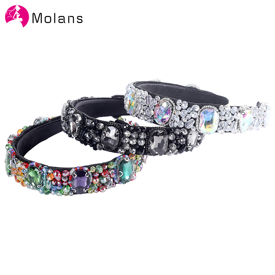 Molans Baroque Crystal Beads Headbands Colorful Different Size Rhinestone Women Hairbands New Fashion Personality Hair Headpiece
