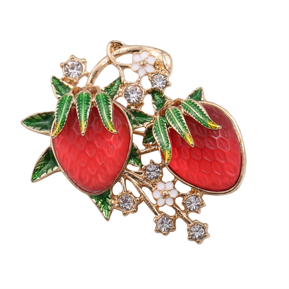 2017 free shipping fashion font b women b font New Jewelry wholesale Strawberry brooch Exquisite font