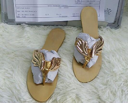 Golden Metal Wings Leaf Strappy Dress Sandals Silver Gold Gladiator Flats Shoes Women Metallic Winged Slippers Lady Flats