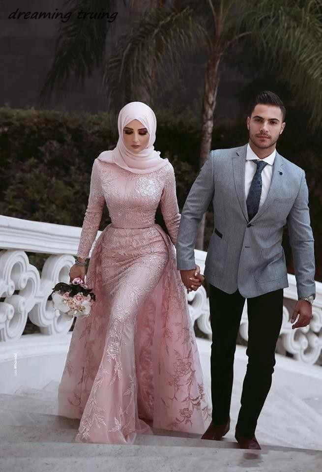 Muslim Style Mermaid Pink Wedding Dresses With Hijab Saudi Arabic