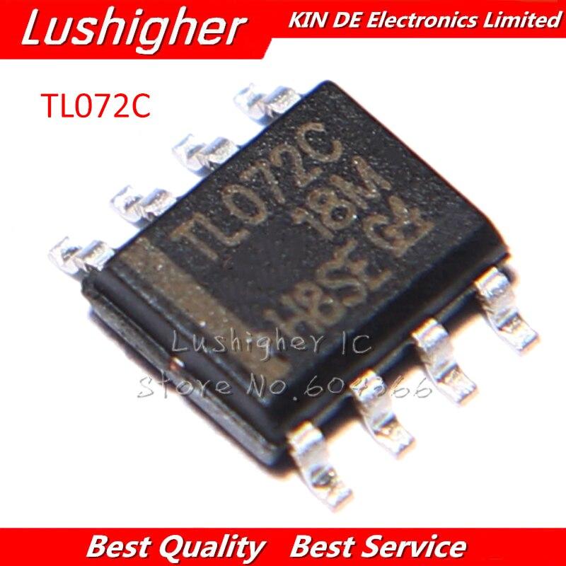 100PCS TL072 TL072CDT SMD TL072CD TL072C 072C AMPLIFIERS