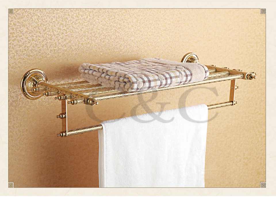 Double Bathroom Towel Racks Noble And Elegant Solid Brass Gold Plating Towel Shelf Holder 1203