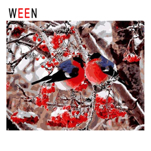 WEEN Plum Blossom Birds Diy Painting By Numbers Abstract Branch Oil On Canvas Cuadros Decoracion Acrylic Wall Art Snow