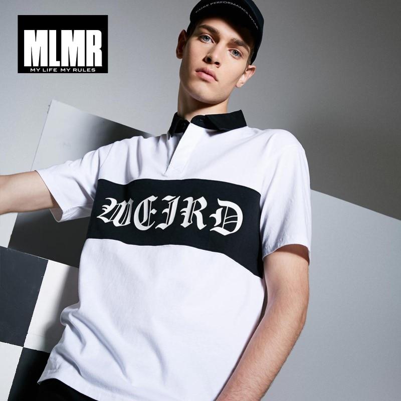 MLMR Men's Letter Print Turn-down Collar 100% Cotton Short-sleeved   Polo   Shirt Top Menswear M 218206514