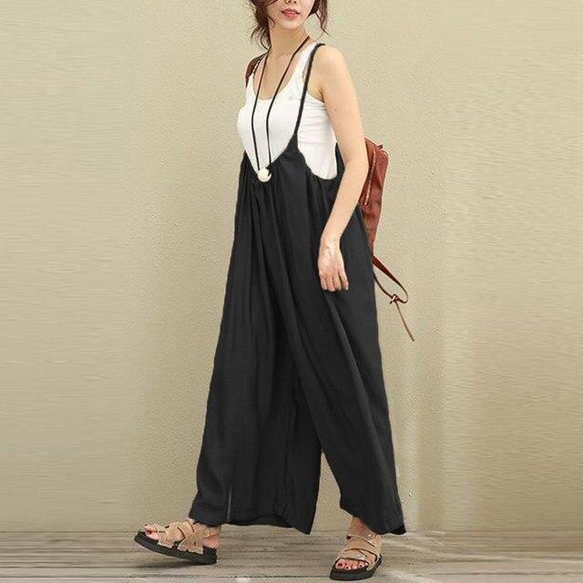 75655109ceee 2018 ZANZEA Women Overalls Rompers Cotton Linen Jumpsuits Dungarees Strap  Long Trousers Plus Size 5XL Casual Baggy Jumpsuit