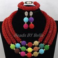 Популярный красный кристалл оплетка нигерийские Свадебные комплекты ювелирных изделий эффектное ожерелье из африканских бусин комплект ю