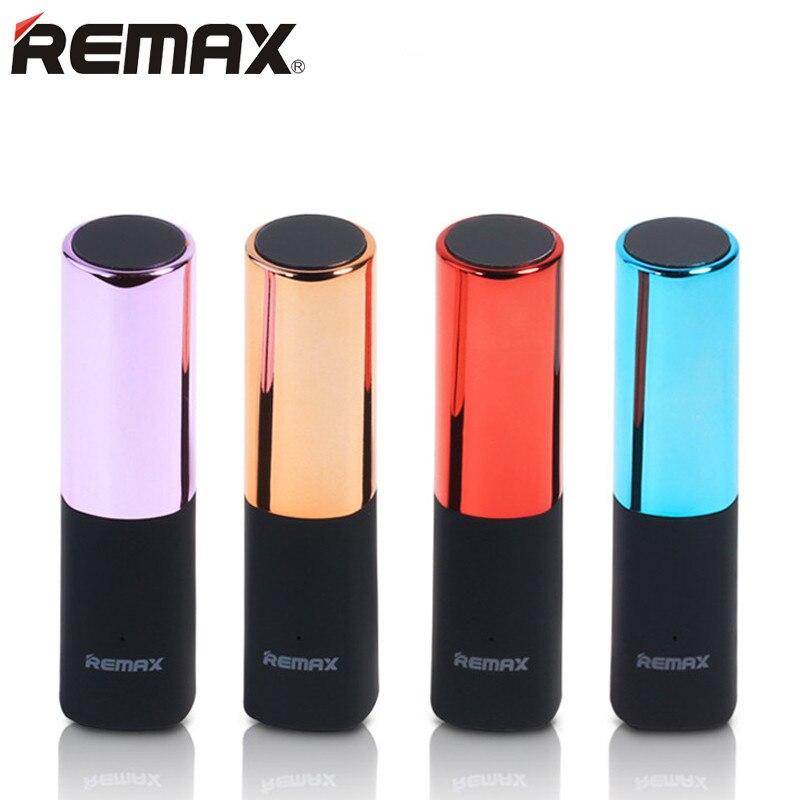 REMAX Роскошные помада Мощность Bank 2400 мАч Портативный Зарядное устройство Мощность bank внешняя Батарея Зарядное устройство для iphone samsung с бесплатным кабеля