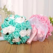Ayicuthia букет невесты, романтической свадьбы Красочный Букет невесты, красный, розовый, синий и фиолетовый свадебный букет \ Фиолетовый s135