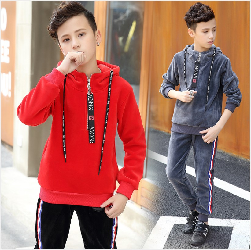 Children Clothing 2017 F  Velvet Hoodie Tracksuit For Boys Clothes 10 Years New Year Costumes Girls Clothing Set Sports Suits hello bobo girls dress collection of sports in the new year is suitable for 2 to 6 years old children s clothing