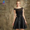 Cheap Black Lace Short Cocktail Dresses Evening Party Gown Stain Back Zipper Formal Women Dress