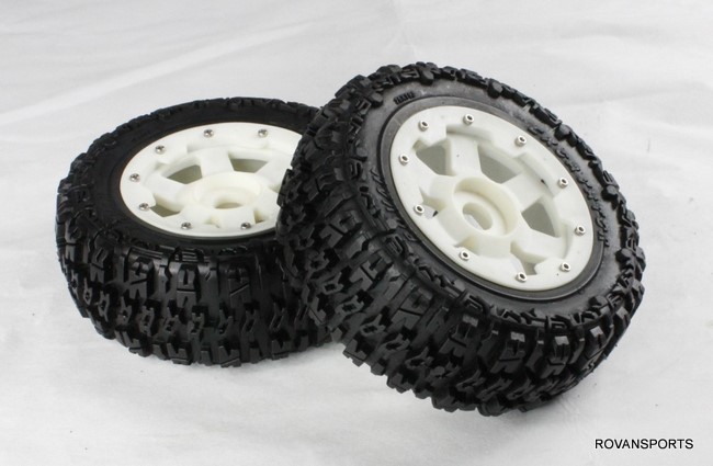 baja front knobby tire set for 5T truck with high strength nylon hub 95071 baja front new  knobby tire set 85078