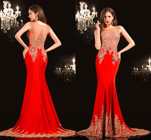 Free Shipping ! 2015 New Evening Dresses Red 100% Real Pictures Imported Party Dress Beads Appliques Mermaid CH-2045