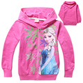 New Arrival High Quality Snow Queen Hoodies Zipper Elsa Anna Child Hoodies for Kids 4-10years 4pcs/lot Wholesale 5733