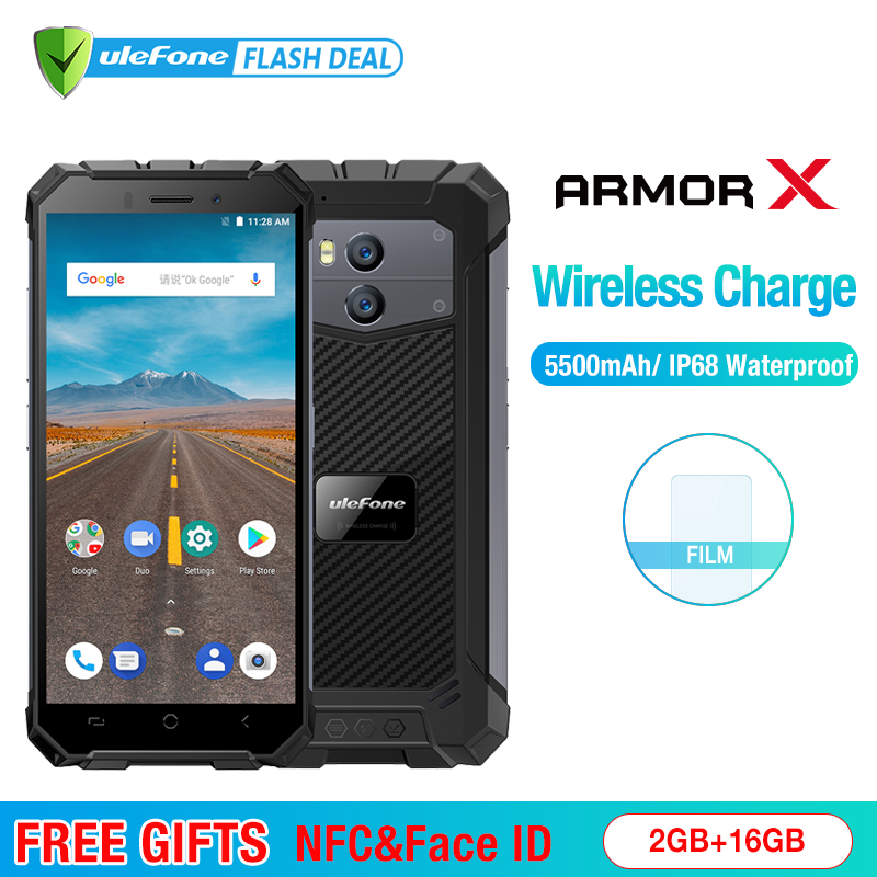 Ulefone Armor X Водонепроницаемый IP68 смартфон 5,5 HD 4 ядра Android 8,1 2 ГБ + 16 ГБ 13MP NFC Face ID 5500 мАч Беспроводная зарядка Мобильный телефон
