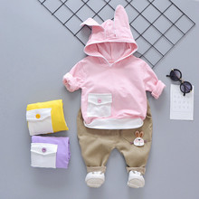 Spring Autumn Children Baby Boy Girls Long Ear Hoodie T Shirt Pants 2 Pcs/sets Infant Clothes Kid Suit Toddler Cotton Tracksuits autumn children clothing sets newborn infant long sleeve baby boy letters printing t shirt stripe pants kids clothes 2 pcs sui