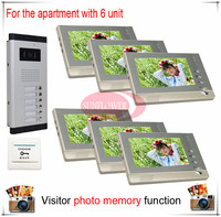 Six 6 Units Apartment Building Color Video Intercom Video Door Phone Visitor Photo Memory Also Support