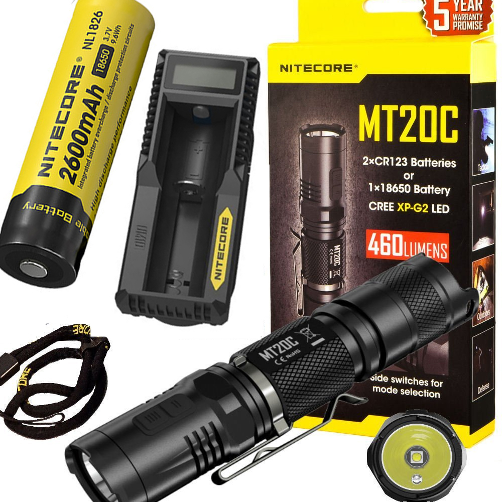 NITECORE MT20C Tactical Flashlight CREE XP-G2 (R5) max. 460 lumen beam distance 180 meters outdoor torch h + battery + charger nitecore flashlight p30 cree xp l hi v3 led max 1000lm beam distance 618 meter led outdoor torch search light 2300mah battery