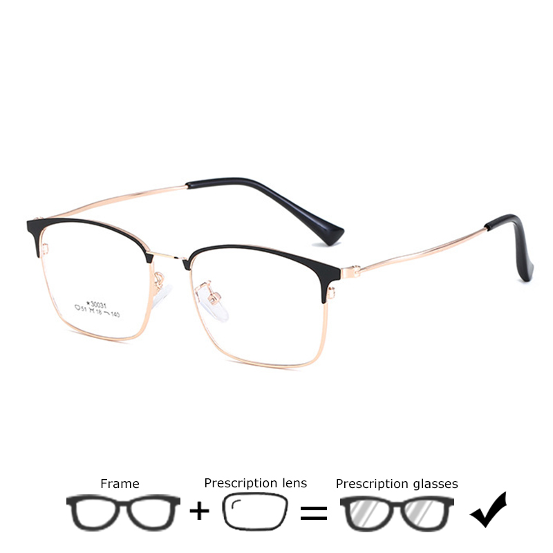 Business Men Prescription Eyeglasses With Diopters Vintage Square Frame Myopia Glasses Optical Computer Glasses Hyperopia Gafas(China)