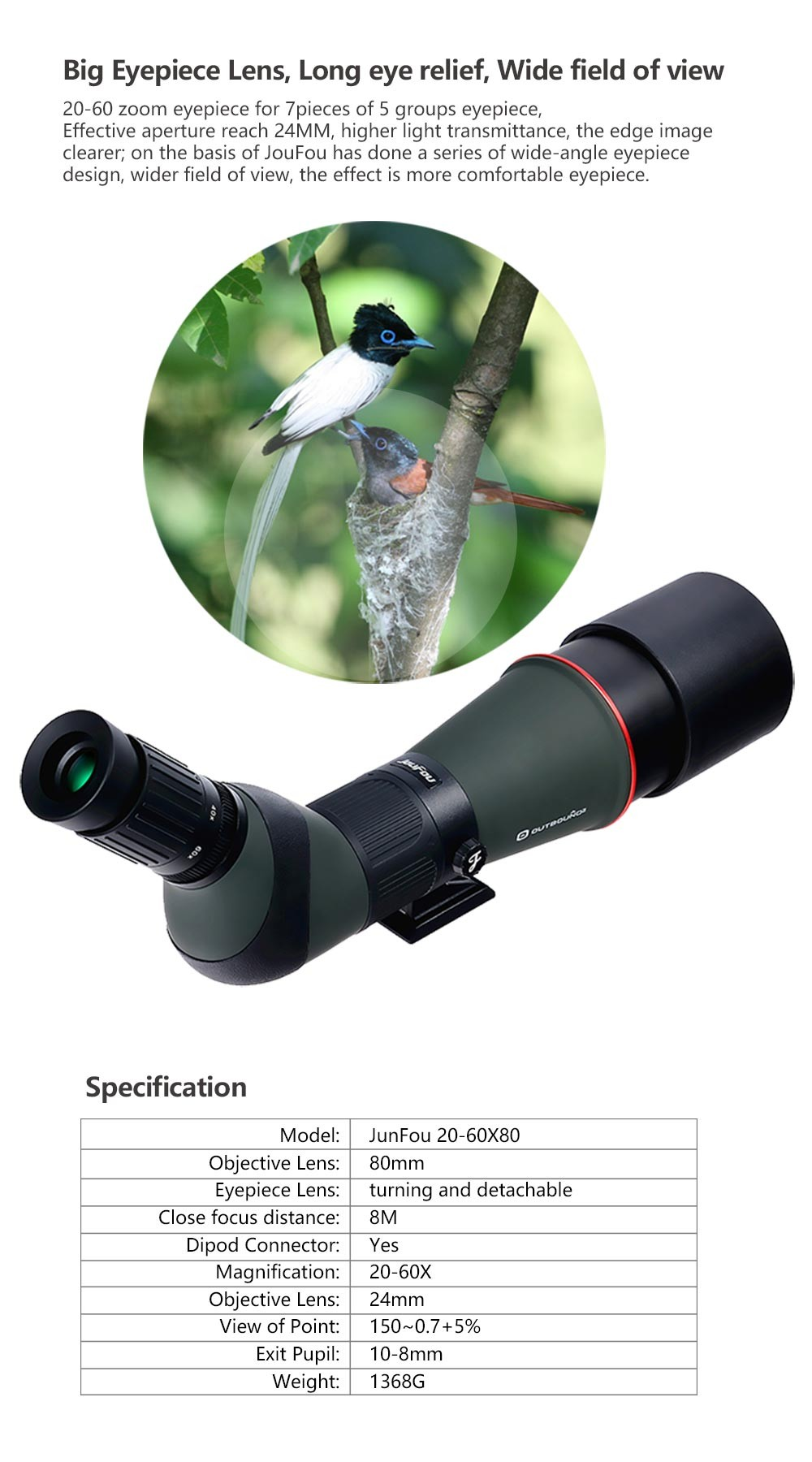 JouFou 20-60X80 HD Spotting Scope Waterproof Zoom Target Shooting Optical Glass High Power with Tripod Birdwatching (10)