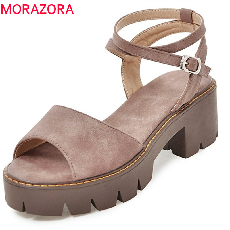 MORAZORA 2020 new style women sandals simple buckle platform shoes elegant peep toe summer shoes comfortable square heels shoes