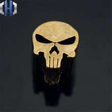 Punisher Skull Brass Knife Beads Pendant Rope Copper Lanyard Fall Outdoors EDC Multi Tools
