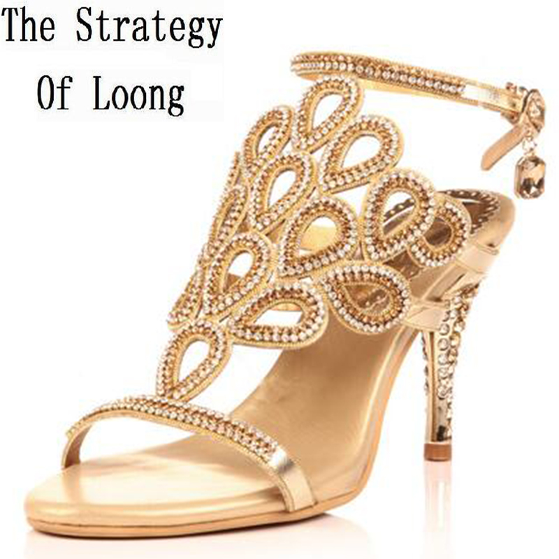 Women 2016 Summer New Rhinestone Thin High Heel Corium Sexy Sandals Peacock Open The Toe Big Size 40 41 Fashion Sandals new arrivals women sandals fashion high quality high heel ankle open toe sexy double buckle thin heel wedding shoes big size 10